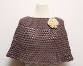 Taupe Crocheted Poncho / Shawl with Oatmeal / Off White Rose Brooch
