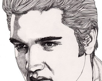 Elvis - Original Signed Paul Nelson-Esch Drawing Art pencil Illustration portraiture singer rock n roll king vegas 50s retro sun  - Free S&H