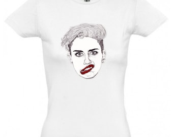 SALE * Miley with Red Lips T-shirt by Paul Nelson-Esch Drawing Art pencil Illustration portrait fashion cyrus dance pop cotton t shirt print