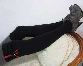 Boot Topper Over the Knee Socks Black Women's Thigh High Leg Warmers Combed Cotton Knit Boot Socks A1148-B
