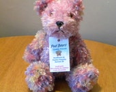 Hand Knitted Teddy for Collectors - Knitted Bear - 10 inches - Pink Knitted Bear
