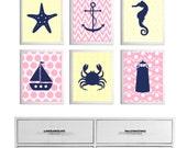 Beach Nursery Ikat Girl Boy Baby Wall Art Ocean Nautical Baby Yellow Navy Pink set of 6