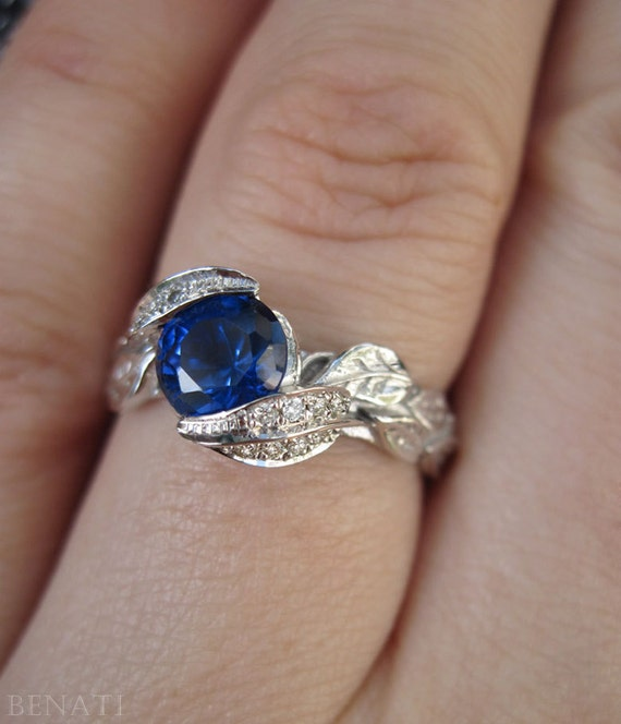 Sapphire Leaf Engagement Ring Leaf Sapphire Ring White Gold
