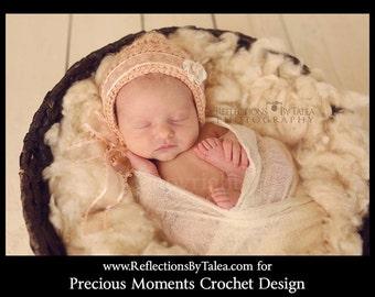 Newborn Bonnet, Vintage Style Bonnet, Crochet Bonnet, Crochet Baby Bonnet, Newborn Girl Bonnet,  Newborn Photo Prop, Baby Hat