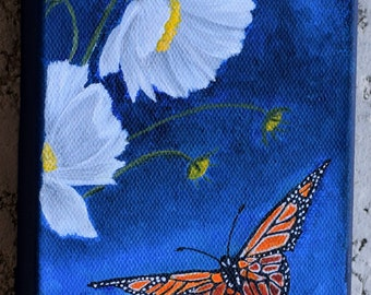 Butterfly Painting - Monarch Butterfly - nature, original acrylic canvas painting,  white flower painting, black and orange butterfly