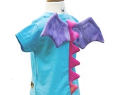 Dragon Shirt - size 4T/5T - Aqua Light Blue T-Shirt with Pink Dragon Spikes and Purple Wings