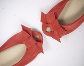 Ballet Flats Shoes Handmade in Geranium Red Leather Peep Toe with Bow