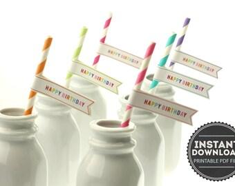 Bright Rainbow Happy Birthday Straw Flags - Digital PDF File - INSTANT DOWNLOAD