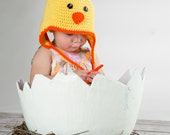 Baby Chick Hat with Earflaps (fits babies to adult) Yellow with orange trim