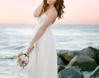 Bohemian Wedding Dress Beaded Sequin Romantic Strapless Wedding Gown- Verona