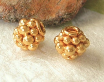 Vermeil Gold Beads - 2  24K Granulated Round Gold Statement Beads - 7.45mm  MB3