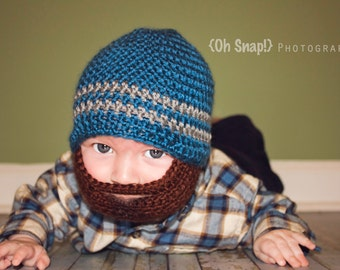 Crochet Baby Boy Beanie with Beard Hat - 3 months to 10 years - Ocean and Heather Grey with Chocolate Beard - MADE TO ORDER