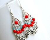 gypsy queen red and aqua silver chandelier earrings, dangle, drop, boho, hippie, bohemian