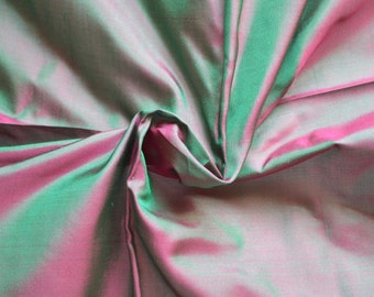 Silk Taffeta in   Magenta and green -  fat quarter -TF 90
