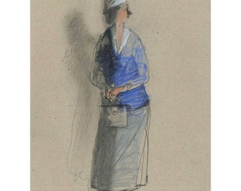 drawing of people Woman with a Purse original figurative portrait