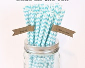 Aqua Blue Paper Straws, 50 Chevron Paper Straws, Table Setting Wedding Baby ShoweR Party Supplies, Paper Goods, Made in USA Bridal shower