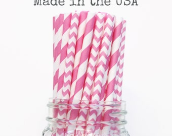 Paper Straws, Bubblegum Pink Paper Straws, Party Supplies Rustic Chevron Wedding Baby Shower, Kids Party, Princess Party, Table Setting, USA