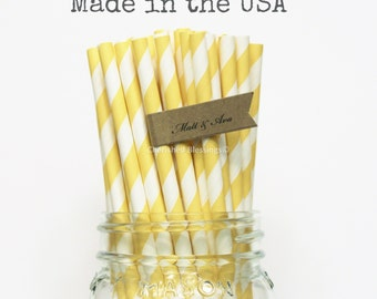 100 Yellow Paper Straws, Yellow Striped Paper Straws, Made in USA, Paper Goods, Wedding Table Setting, Birthday Baby Shower, Rustic, Vintage