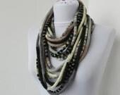 Knit Scarflette Necklace - loop scarflette - infinity scarflette -neck warmer -  knit scarflette- in ivory,gray,black,beige  E112