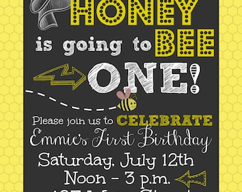First Birthday Honey Bee Printable 5 X 7 Invitation