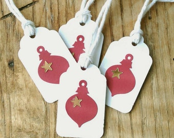 "10 Red Ornament Gift Tags With Metallic Gold Stars on White Kraft, Holiday Gift Tags 1  1/2"" x 15/16"" Made Using Recycled, Repurposed"