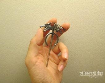 Game of Thrones Jewelry Dragon Pin | Daenerys Targaryen Khaleesi Silver Three Headed Dragon Brooch | Jewelry Halloween Costume Cosplay