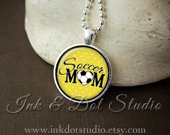 Yellow Soccer Mom Necklace, Soccer Mom Pendant, Gift For Soccer Mom, Yellow Polka Dot or Choose Color
