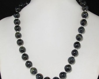 Necklace 19 inch IN black Tiger eye 12mm 925 Silver