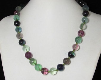 Necklace 19 inch IN Natural Fluorite 12mm 925 Silver
