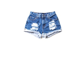 All Sizes Cuffed Destroyed  Ripped Distress  High Waist Shorts Plus Sizes