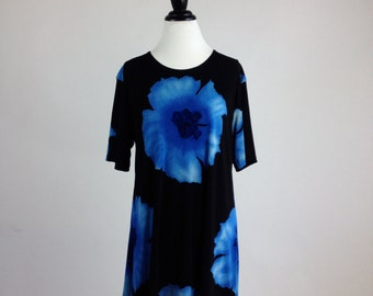 90's Blue Watercolor Print Slinky Mini Dress // S-L