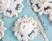 Cast Iron Drawer Pull-Kitchen Fixture-Shabby Chic White-Drawer Hardware-Decorative Knobs-Dresser Pulls-Shabby Knobs-Knobs-Cottage Style