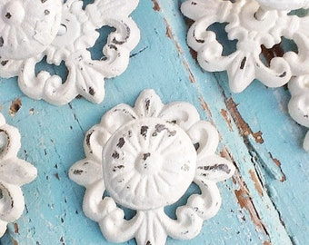 Cast Iron Drawer Pull-Kitchen Fixture-Shabby Chic White-Drawer Hardware-Decorative Knobs-Dresser Pulls-Shabby Knobs-Knobs-Cottage Style