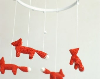 SALE -10 % - baby mobile - nursery mobile - fox mobile - FIRE FOXES