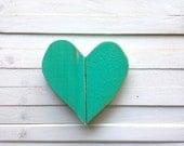 Distressed wooden teal heart/ heart wall hanging/ Love sign/ pallet art/ love heart