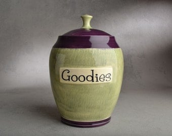 Cookie Candy Jar Ready To Ship Green Tea and Purple Cookie Jar by Symmetrical Pottery