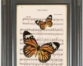 Orange black butterfly print on dictionary COUPON SALE Insect dictionary art print Wall decor Sheet music Digital print Home decor No. 530