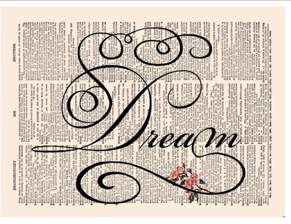 Wall Art Design Etsy Coupon Code : Dream calligraphy print coupon sale pink blossoms by