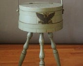 Vintage 50's/60's Sage Green Sewing Basket/Table