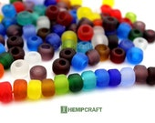 Glass Pony Beads, 9mm Assorted Matte Glass Rainbow Crow Rollers,  Macrame Beads 50pc