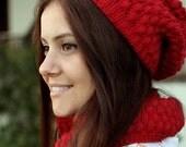 Women Hat Cowl Set, Matching Knit Cowl hat set, Red Cowl hat set, Matching set Cowl hat, Knit Matching hat Cowl set,