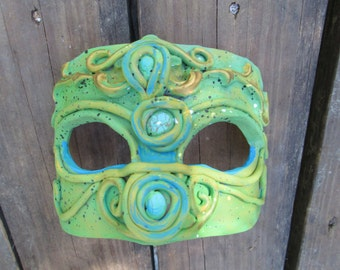 Halloween Costume, hand painted, warrior, seafoam green masquerade mask, half face