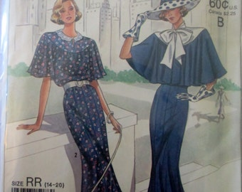 Simplicity 9360 60th Tie Collar and Capelet Dress Sewing Pattern Size 14 to 20 Bust 36 to 42
