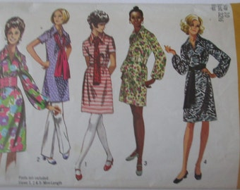 Simplicity 9219 Womens 70s Dress in 2 Lengths and Sash Sewing Pattern Bust 32 1/2