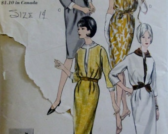 Vogue 6275 Women's 60s One Piece Softly Bloused Dress and Cowled Blouse Sewing Pattern Size 14 Bust 34