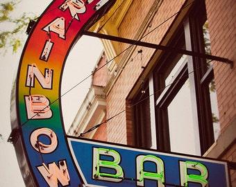 Rainbow Bar Neon Sign Print   Home Bar Decor