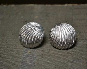 1970s Napier Silver Shell Post Earrings