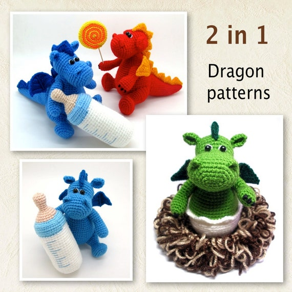 Beginner Crochet Toy Patterns : Pack of 2 Dragon Patterns pdf crochet toy pattern Baby
