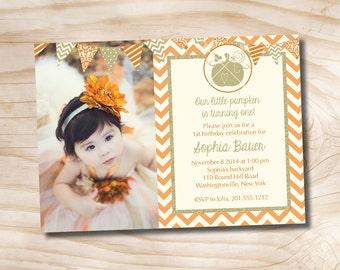 Little Pumpkin Orange and Gold Chevron 1st 2nd 3rd Birthday Photo Party Invitation Printable diy Customizable