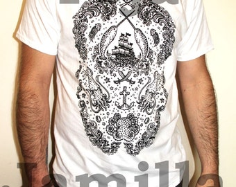 Narwhal Pirate Tattoo Men's T-Shirt Black on White Nautical Octopus Squid Skull Print